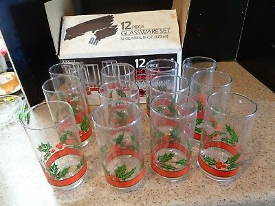 12 Libbey Holly And Berry Tall Drinking Glasses Christmas 16 Oz W/Box Euc