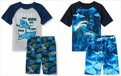 NWT The Childrens Place Sharks Boys Short Sleeve Pajamas Set 5-6 7-8 10-12 14 16