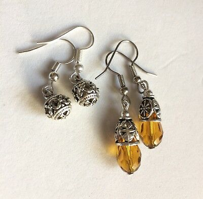 Antique Silver Chrystal Earrings With Surgical Steel Hook 2 Pair