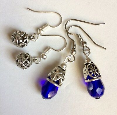 Antique Silver Crystal Earrings With Surgical Steel Hook 2 Pair