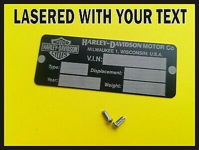 HARLEY DAVIDSON VIN Plate STAMPED WITH YOUR INFO Chassis
