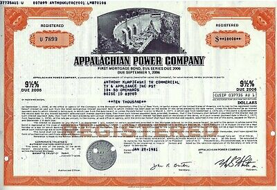 Appalachian Power Company, 1981, 9 1/2% First Mortgage Bond due 2006 (10.000 $)