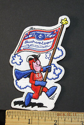 "BUDWEISER FLAG BEARER BUD MAN BEER EMBROIDERED IRON-ON PATCH 4x2.25"" new style"