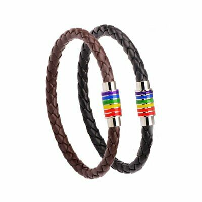 Fashion Pride LGBT Rainbow Unisex Leather Bracelet Bangle Gay Pride Lesbian Gift