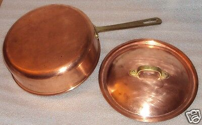"""Copper Sauce Pan or Pot with Lid Cover 9"""" diameter x 3"""" Vintage"""