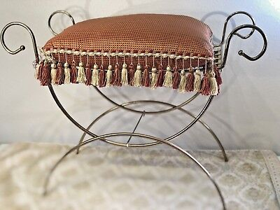 ANTIQUE VINTAGE Mid Century Hollywood Regency gold Metal Vanity seat  stool