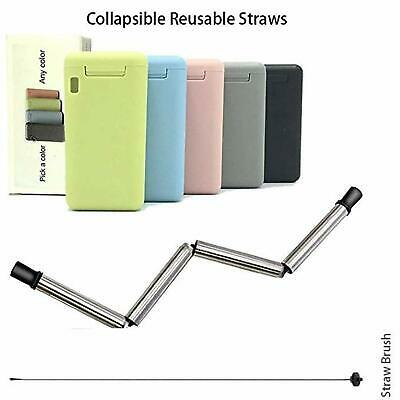 Portable Reusable Collapsible Straw Foldable/Retractable Straws with Carry Case