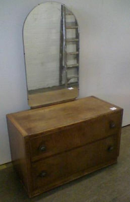 Attractive Vintage Two Drawer  Art Deco Style Dressing Table Tall  Arched Mirror