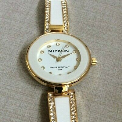 7afd7d84d Miykon Women's Watch Round Dial Crystal Hours Gold & White Linked Band New  Style