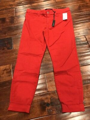 "J Brand Orange ""Anja Clean Cuffed Cropped Luxe Sateen"" Pants, Size 31, NWT! $198"