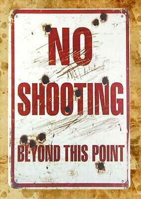 US Seller- thank you plaques No shooting beyond this point tin metal sign