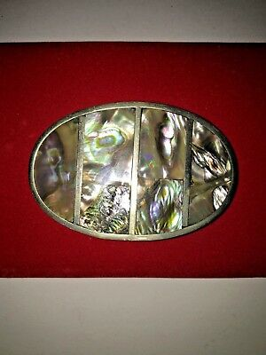 Vintage Silver with Mother of Pearl Inlay Unisex Belt Buckle Oval