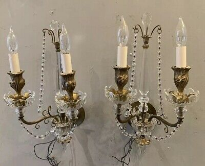 PAIR Gilt BRONZE & CRYSTAL French TWO Light WALL SCONCES SPIRE TOPS