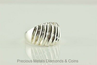 RING SCALLOPED Sterling Silver Ring Size 8 14 Weight is 2.21 dwt Heavy Scalloped Edged with a Deep Satin Finish STERLING 8 mm wide