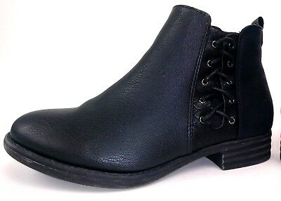 23eb151313b9e Dept 222 Womens Chatham Ankle Boots Size 7.5 Black Faux Leather Zip Booties