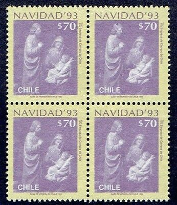 Chile Stamp # 1650 Mnh Block Of Four Christmas 93'