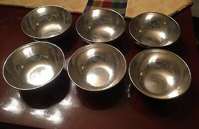 "Set of 6 US WWI Era USN NAVY Mess Soup Bowls 5"" Silver Plated"