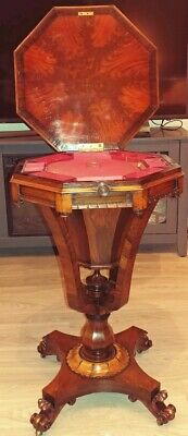 Antique William Iv Rosewood Trumpet Style Sewing / Work Lift Top Table. England