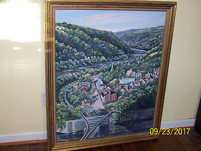 Harpers Ferry OverLook Original Oil On Canvas WPA Style Artist Signed Painting