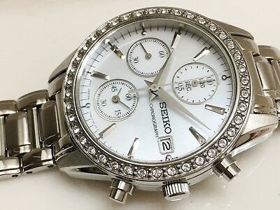 SEIKO sndy21 LADIES MODERN NON-WORKING SAMPLE 30M CHRONOGRAPH WATCH 7T92 0MZ0