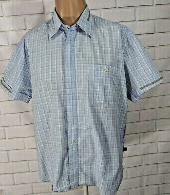 a60cc1ab Mens Versace Jeans Couture XL Shirt Plaid Blue Short Sleeve Button Italy  Made