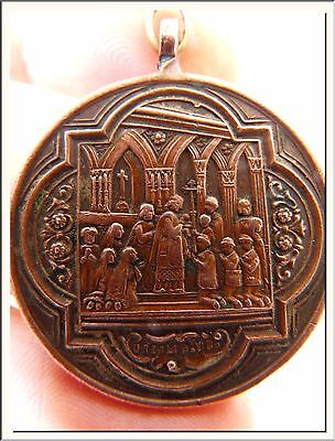 GORGEOUS ART NOUVEAU 1900's SPANISH FIRST COMMUNION BRONZE MEDAL ! SEE MORE !