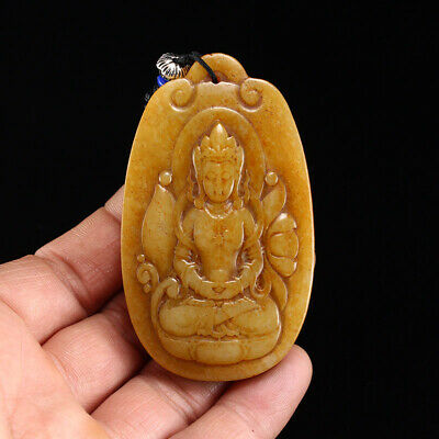 China old antique 100% Natural Nephrite hetian jade hand carved Guanyin Pendant