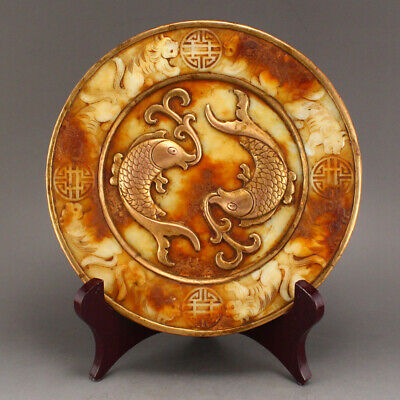 China old antique Nephrite hetian jade 100% Natural handcarved double fish plate