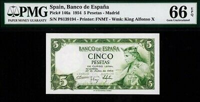 Spain 1954 5 Pesetas  P-146A ☆ Epq Gem Unc-66 ☆ 1 Of 2 Finest Known None Higher