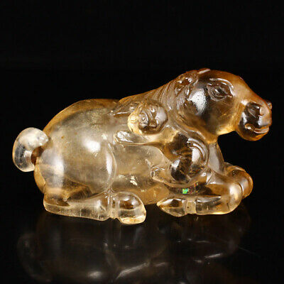 China antique Old crystal Natural handcarved Horse Monkey statue