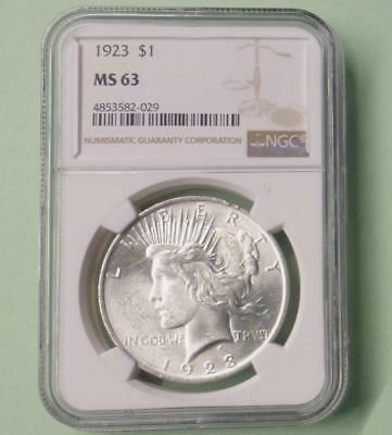 1923 NGC Certified MS 63 Peace Silver Dollar, MS 63 Silver One Dollar Coin