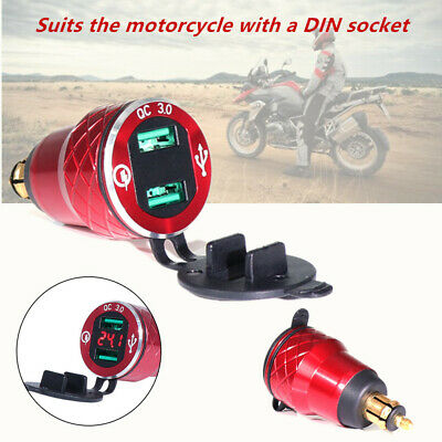 1*Red Voltmeter USB Phone Charger Power DIN Socket Fit For BMW S1000R Motorcycle