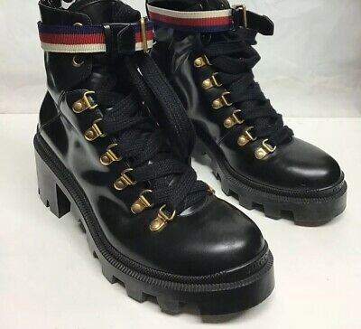 61b5ace5ba7 GUCCI BLACK LEATHER embroidered ankle Combat boot Sz7 NIB EUR 36.5 ...