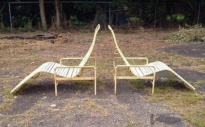 MCM Vintage Cast Aluminium Faux Bamboo Outdoor Lounge Chairs Woodard