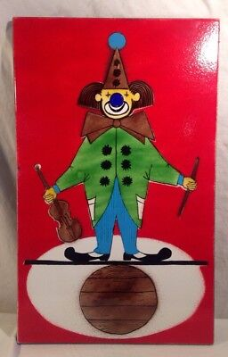 MCM Enamel On Steel Wall Plaque Of Circus Clown 1960's-70's