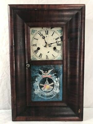 Antique 19th C OGEE Clock - CIVIL WAR THEME with Pendulum and Key