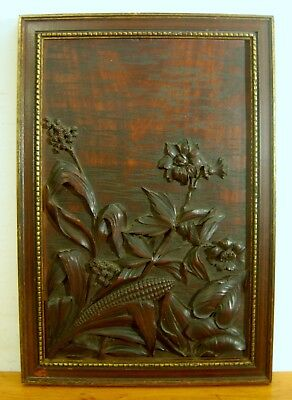 Antique Wooden Plaque/Panel Hand Carved Corn Flowers Leaves Exc. Detail & Patina