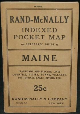 RAND-McNALLY INDEXED POCKET MAP AND SHIPPERS' GUIDE OF MAINE / 1915 #261001