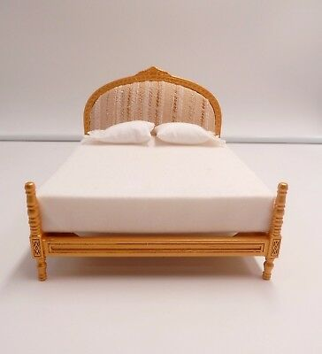 Dollhouse Miniature Wood & Fabric Double Bed Bedroom Furniture 1:12 Scale New