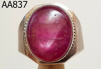 Power Golden Triangle Burma Red RUBY Thai Real Silver Ring #aa837g