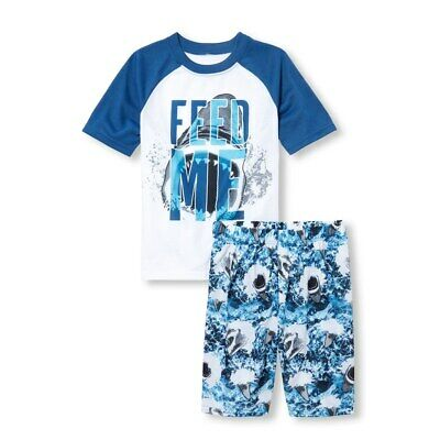 NWT The Childrens Place Shark Feed Me Boys Short Sleeve Pajamas Set