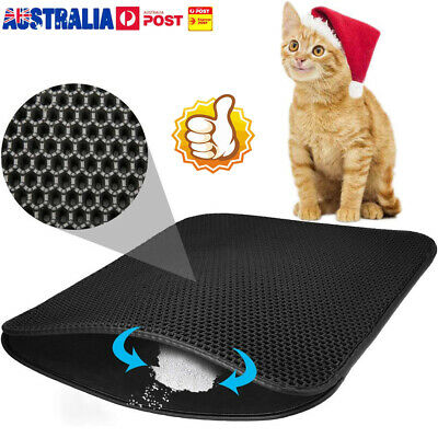 Cat Litter Trapping Mat Double Layer Honeycomb Design Foldable Tray Trap Pad UE