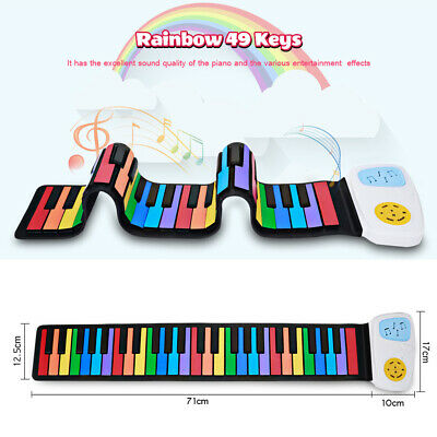 49 Key Flexible Roll Up Piano Portable Digital Electronic Soft Colorful Keyboard