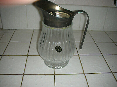 Vintage Godinger Silver Plated lid, Lead Crystal Water Pitcher Ice Guard Italy