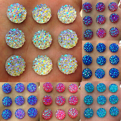 DIY 40Pcs 12mm Round AB Resin Flatback Rhinestones for Phone Wedding Crafts Int