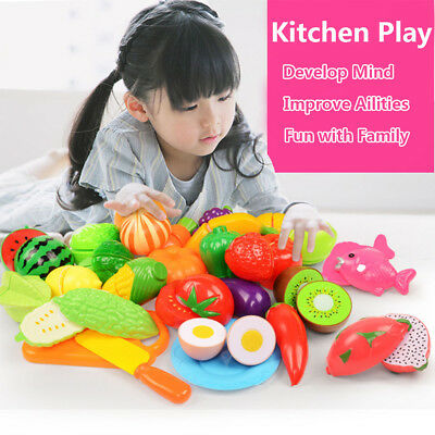 24pcs Simulation Food Kitchen Pretend Play Toy Fruit Vegetable Cutting Toy