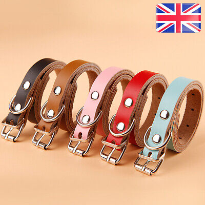 Genuine Cow Leather Dog Pet Puppy Cat Soft Collar Neck Buckle Strap Adjustable