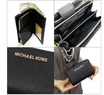 4ca58247d21c NEW MICHAEL KORS Jet Set Travel Leather Bifold Zip Coin wallet Dark ...