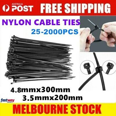 Nylon Cable Tie Ties Black 25/100/200/250/500/1000/2000 x Bulk Black Cable Tie