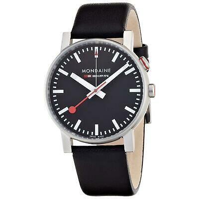 Mondaine Men's 40mm Genuine Leather Band Swiss Quartz Watch A4683035214SBB